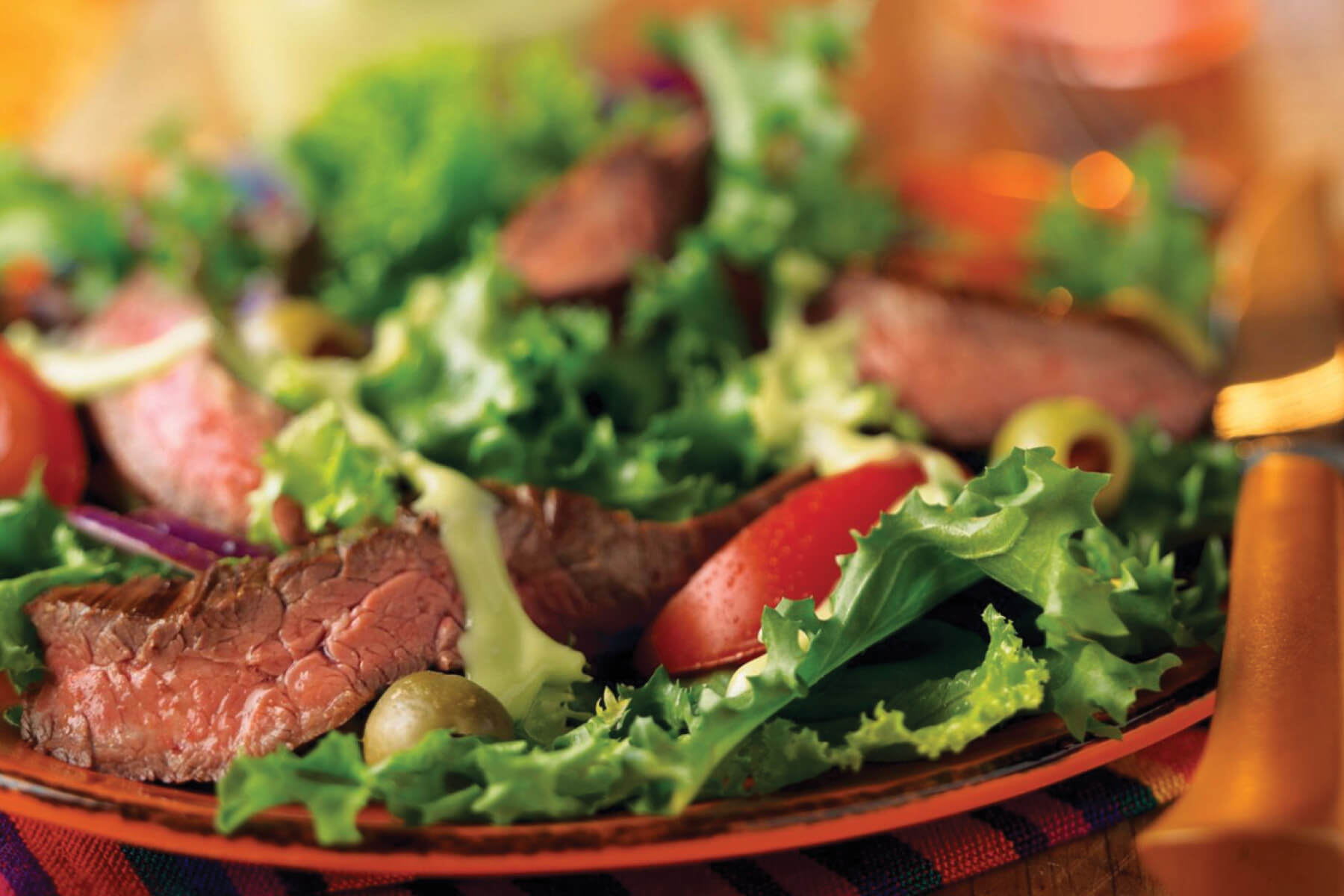 Grilled Skirt Steak Salad with Avocado Dressing