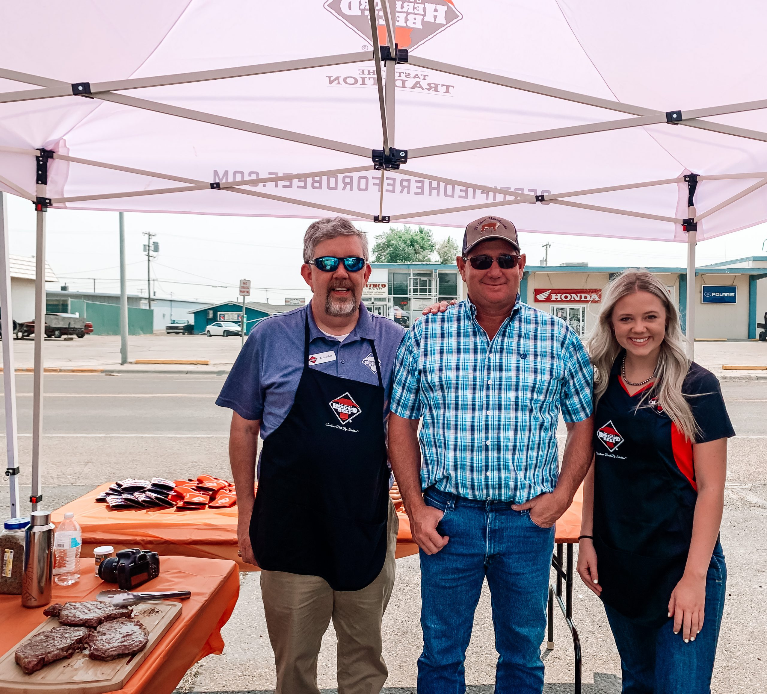 Certified Hereford Beef® Team Samples Ribeye Steaks at Gary and Leo's Fresh Food's Vendor Day